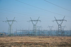 Pylons and transmission power lines Royalty Free Stock Images