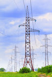 Pylons and transmission power lines Royalty Free Stock Image