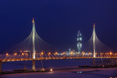 Pylons and wires of cable-stayed bridge at night illumination. Stock Photography