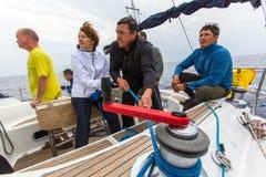 PYLOS,希腊-水手参加航行赛船会 图库摄影
