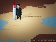 Pyongyang, 11 APRIL, 2017: Noord-Korea dreigt om atoomwapens te gebruiken Karakterportret van Kim Jong Un Stock Illustratie