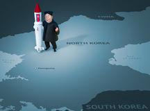 Pyongyang, APRIL 11, 2017: North Korea threatens to use nuclear weapons. Character portrait of Kim Jong Un. 3D illustration Royalty Free Stock Photo