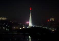 Pyongyang bij nacht. Stock Afbeelding