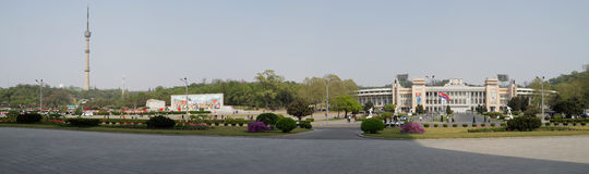 Pyongyang city centre. Panorama of Pyongyang with Central stadium and Broadcasting tower Royalty Free Stock Photos