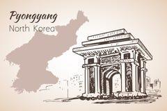 Pyongyang city sketch. North Korea. Arch of Triumph Pyongyang, N Royalty Free Stock Photo