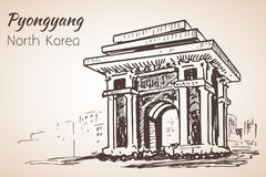 Pyongyang city sketch. North Korea. Arch of Triumph Pyongyang, N Stock Image
