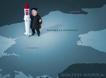 Pyongyang, el 11 de abril de 2017: Corea del Norte amenaza utilizar las armas nucleares Retrato del carácter de Kim Jong Un Foto de archivo libre de regalías