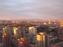 Pyongyang, il tramonto nel Korea di Nord Immagini Stock Libere da Diritti