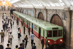 Pyongyang Metro, North Korea. The Pyongyang Metro is the metro system in the North Korean capital Pyongyang. It consists of two lines: the Chollima Line and the Stock Images