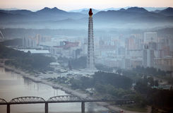 Pyongyang 2013. Pyongyang in morning fog,this is a city without advertising Stock Photos