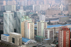 Pyongyang 2013. Pyongyang in morning fog,this is a city without commercial advertising Stock Images