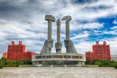 PYONGYANG NORR KOREA-OCTOBER 12,2017: Monument till grunda Arkivfoto