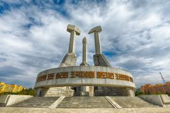 PYONGYANG NORR KOREA-OCTOBER 12,2017: Monument till grunda Royaltyfria Foton