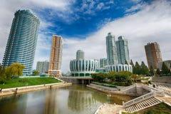 PYONGYANG NORR KOREA-OCTOBER 12,2017: Nytt bostads- komplex I Arkivbild