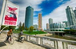 PYONGYANG NORR KOREA-OCTOBER 12,2017: Nytt bostads- komplex I Royaltyfria Foton