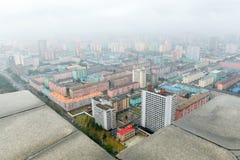 PYONGYANG NORR KOREA-OCTOBER 10,2017: Panorama av Pyongyang på Arkivbild