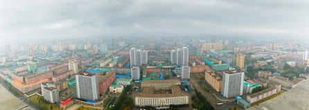 PYONGYANG NORR KOREA-OCTOBER 10,2017: Panorama av Pyongyang på Royaltyfri Bild
