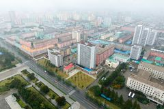 PYONGYANG NORR KOREA-OCTOBER 10,2017: Panorama av Pyongyang på Fotografering för Bildbyråer