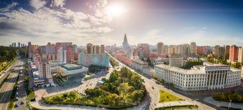 PYONGYANG NORR KOREA-OCTOBER 13,2017: Panorama av punkten för stad uppifrån Arkivbilder