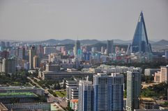 Pyongyang, North-Korea, 09/07/2018: Ryugyong Hotel with new facade. Pyongyang, North-Korea, 09/07/2018: Ryugyong Hotel with new facade and cityscape of stock images