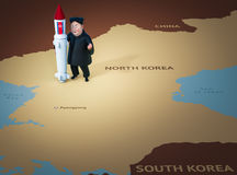 Pyongyang, o 11 de abril de 2017: A Coreia do Norte ameaça usar armas nucleares Retrato do caráter de Kim Jong Un Imagem de Stock Royalty Free