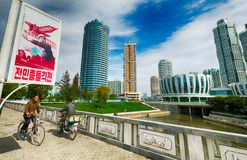 PYONGYANG, północ KOREA-OCTOBER 12,2017: Nowy mieszkaniowy kompleks ja Zdjęcia Royalty Free