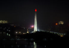 Pyongyang przy nocą. Obraz Stock