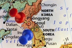 Pyongyang and Seoul pinned map Stock Photography