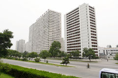 Pyongyang streetscape.2011 Imágenes de archivo libres de regalías
