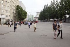 Pyongyang streetscape.2011 Royalty Free Stock Photo