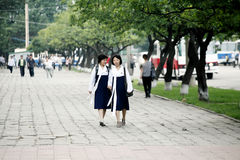 Pyongyang streetscape. Stock Photos