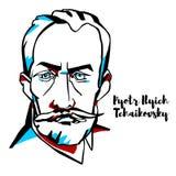 Pyotr Ilyich Tchaikovsky Portrait royalty free illustration