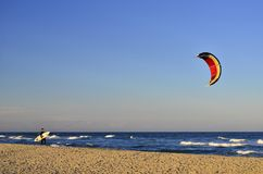 Kitesurfer by the Mediterranean sea in southern France stock photo