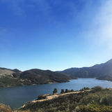 Pyramid湖在加利福尼亚 库存图片