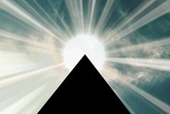 Pyramid 01. Egypt pyramid with raising sun cloud Royalty Free Stock Photo