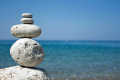 Pyramid. Zen stone pyramid with sea background Stock Image