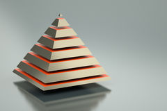 Pyramid. Abstract 3d pyramid on silver background Royalty Free Stock Images