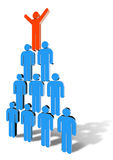 Pyramid. Stylized drawing of a team of people building a human pyramid, supporting each other. Three-dimensional colour vector Royalty Free Stock Images
