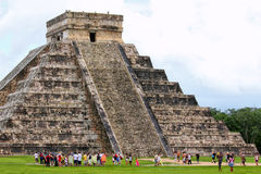 Pyramid. Tourists at Mayan pyramid in Mexico Royalty Free Stock Photo