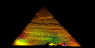Pyramid. The Pyramid of Giza in multi coloured lights. Pharaoh  Chephren are almost 5000 years old Royalty Free Stock Photography