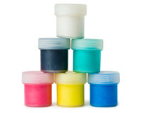 Pyramid of acrylic paints Royalty Free Stock Photography