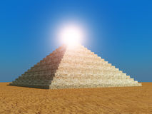 Pyramid against the sun Stock Images