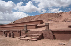 Pyramid Akapana at ancient Tiwanaku Ruins, Bolivia Royalty Free Stock Photos