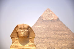 Pyramid And Sphynx Royalty Free Stock Photos