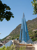 The pyramid in Andorra la Vella. This futuristic high glass spire building is situated in the capital of Andorra, Andorra la Vella, and is housing a wellness and royalty free stock image