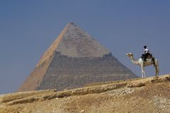 Pyramid av Khafre (Chephren) i Giza - Kairo, Egypten med den turist- polisen på en kamel Royaltyfri Bild