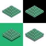 Pyramid av kuberna med dollarlogo i isometrisk sikt royaltyfri illustrationer