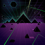 Pyramid background. Retro 80's Style Fashion Triangle,  illustration cartoon Royalty Free Stock Photo