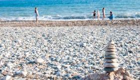 Pyramid of balanced pebbles Royalty Free Stock Image