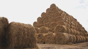 Pyramid of bales of hay and straw against the cloudy sky background. camera tracking stock video